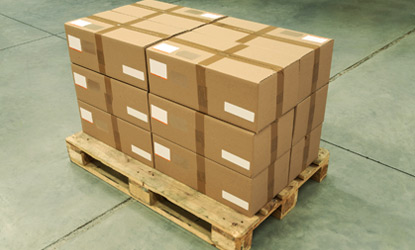 Boxed inventory sitting on a pallet