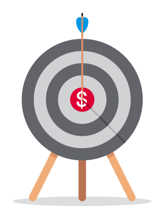 Dartboard with an arrow hitting the center of a dollar sign